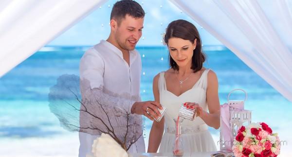 Ceremonie ślubne na rajskiej plaży, tropikalne śluby