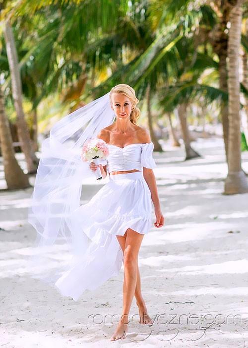 Kreacja ślubna na plażę, Dominikana