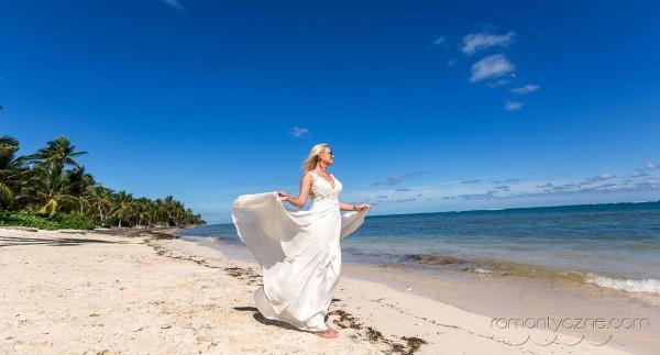 Kreacja ślubna na plażę, Saona Island