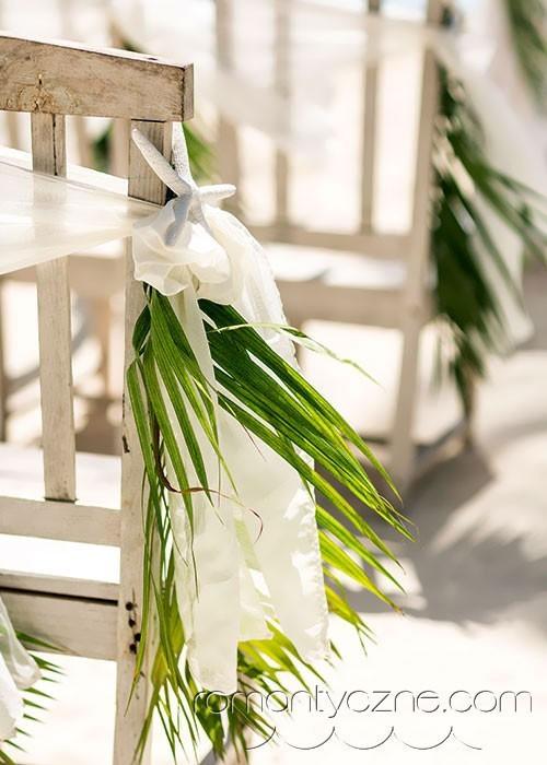 Dodatki zielone, ślub na plaży